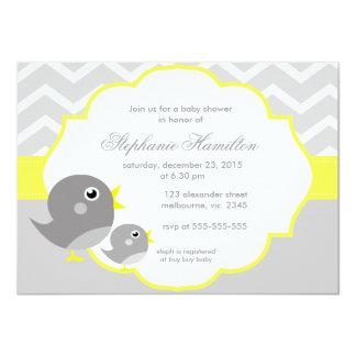 Gray chevron lemon neutral baby shower personalized announcements