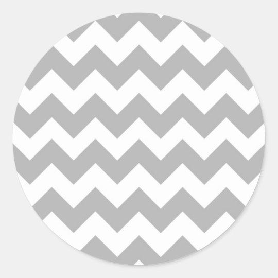Gray Chevron Logo Classic Round Sticker