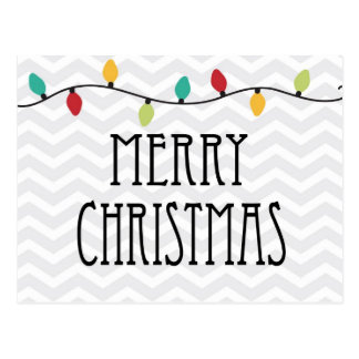Gray Chevron Merry Christmas Postcard