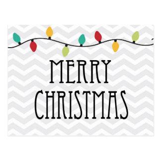 Gray Chevron Merry Christmas Postcard