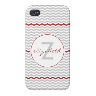 Gray Chevron Monogram iPhone 4/4S Case