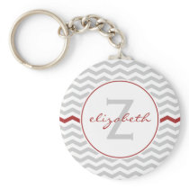 Gray Chevron Monogram Keychain