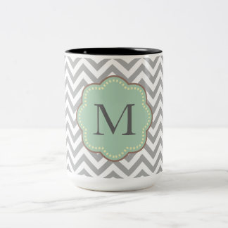 Gray Chevron Monogram Mugs