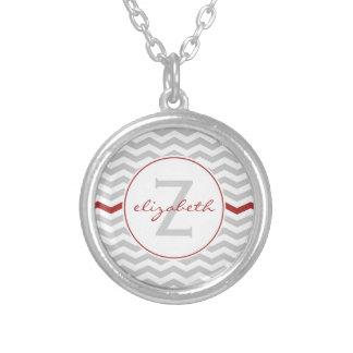 Gray Chevron Monogram Round Pendant Necklace