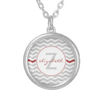 Gray Chevron Monogram Silver Plated Necklace
