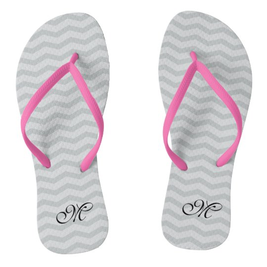 Gray chevron monogram wedding party flip flops | Zazzle.com