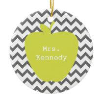 Gray Chevron Neon Apple Teacher Ceramic Ornament