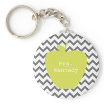 Gray Chevron Neon Apple Teacher Keychain
