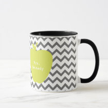 Gray Chevron Neon Apple Teacher Mug