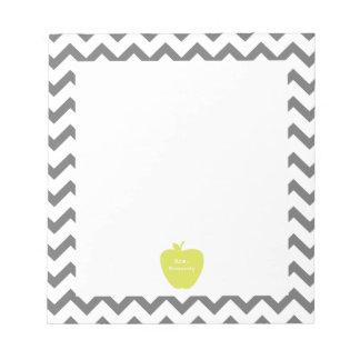 Gray Chevron Neon Apple Teacher Notepad