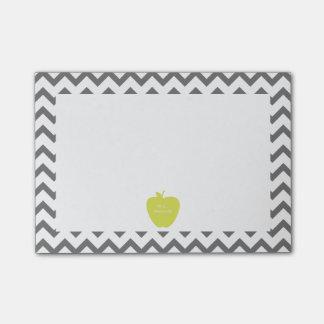 Gray Chevron Neon Apple Teacher Post-it® Notes