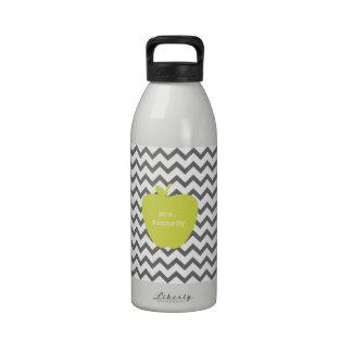 Gray Chevron Neon Apple Teacher Water Bottles