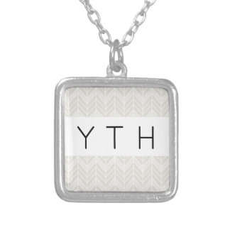 Gray Chevron Pattern Silver Plated Necklace