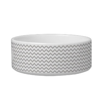 Gray Chevron Personalized Bowl