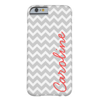 Gray Chevron Personalized Custom Monogram Barely There iPhone 6 Case