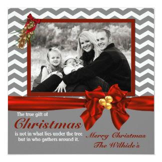 Gray Chevron Photo Christmas Card
