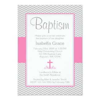 Gray Chevron Pink Cross Girl Baptism Christening Card