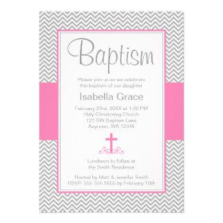 Gray Chevron Pink Cross Girl Baptism Christening Cards