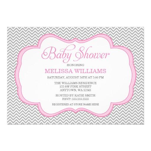gray chevron pink frame baby shower invitations 5 x 7 invitation