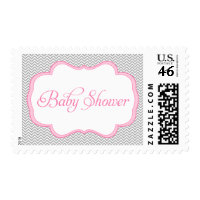 Gray Chevron Pink Frame Baby Shower Postage Stamps