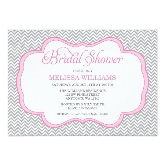 Gray Chevron Pink Frame Bridal Shower Card