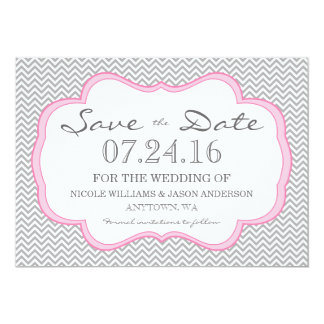 Gray Chevron Pink Frame Save The Date Card
