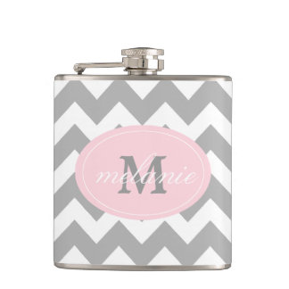 Gray Chevron Pink Monogram Flask