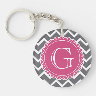 Gray Chevron Pink Monogram Keychain