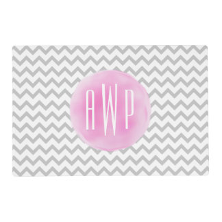 Gray Chevron Pink Watercolor Inspired Monogrammed Laminated Placemat