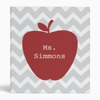 Gray Chevron & Red Apple Teacher Binder
