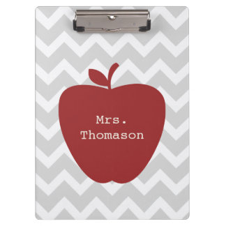 Gray Chevron Red Apple Teacher Clipboard