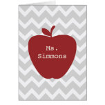 Gray Chevron & Red Apple Teacher Greeting Cards