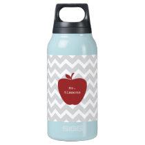 Gray Chevron & Red Apple Teacher Insulated Water Bottle