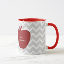 Gray Chevron & Red Apple Teacher Mug