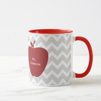 Gray Chevron & Red Apple Teacher Mug