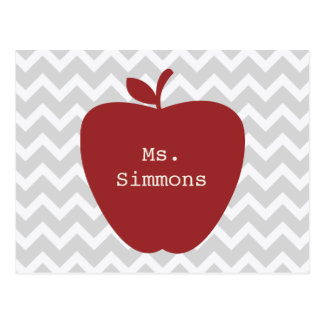 Gray Chevron & Red Apple Teacher Postcard