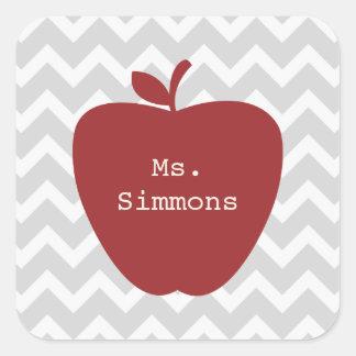 Gray Chevron & Red Apple Teacher Square Sticker