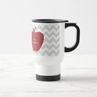 Gray Chevron & Red Apple Teacher Travel Mug