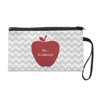 Gray Chevron & Red Apple Teacher Wristlet Purse