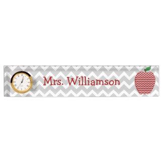 Gray Chevron Red Chevron Apple Teacher Nameplate