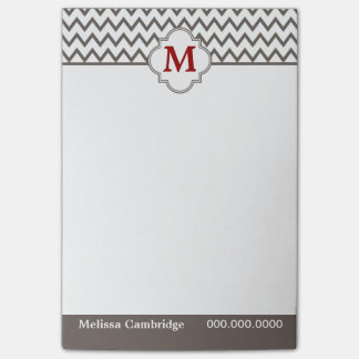 Gray Chevron Red Monogram Personalized Post-it® Notes