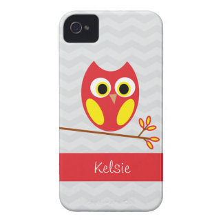 Gray Chevron, Red & Yellow Owl iPhone 4/4s Case-Mate iPhone 4 Case