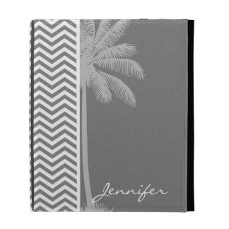 Gray Chevron Stripes; Tropical Palm Tree iPad Case