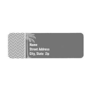 Gray Chevron Stripes; Tropical Palm Tree Label