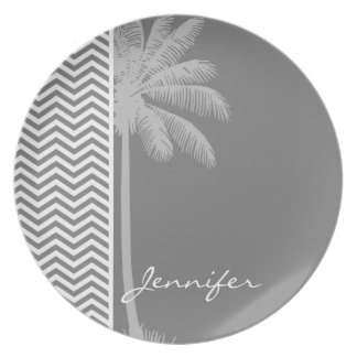 Gray Chevron Stripes; Tropical Palm Tree Party Plate