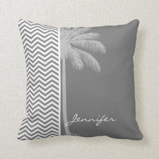 Gray Chevron Stripes; Tropical Palm Tree Throw Pillow