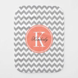 Gray Chevron with Coral Monogram Burp Cloth