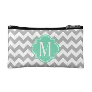 Gray Chevron with Mint Monogram Makeup Bags