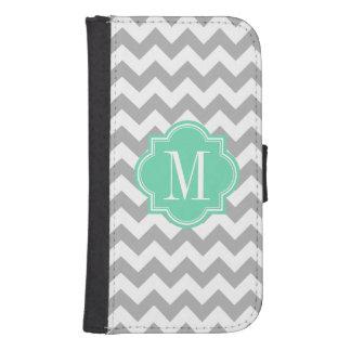 Gray Chevron with Mint Monogram Phone Wallet