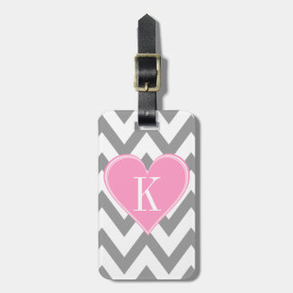 Gray Chevron with Pink Heart Monogram Bag Tag